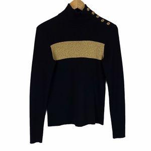 Ralph Lauren black and gold turtleneck sweater